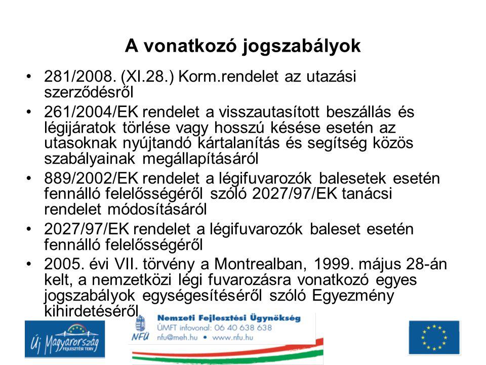 A vonatkozó jogszabályok •281/2008. (XI.28.) Korm.rendelet az utazási szerződésről •261/2004/EK rendelet a visszautasított beszállás és légijáratok tö