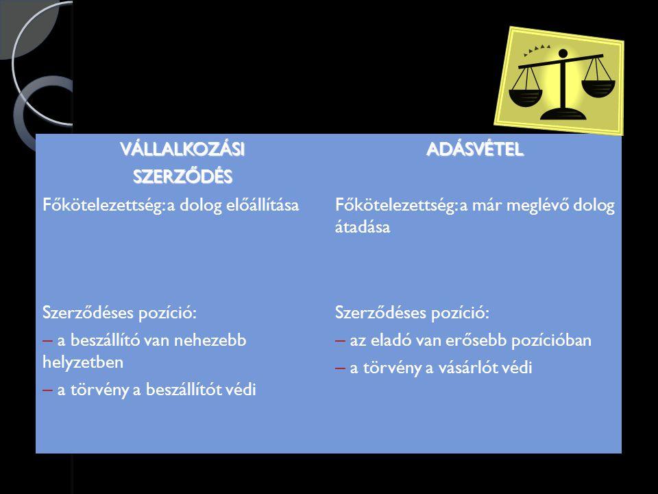 """Szavatosság  Kellékszavatosság Eladó szavatolja, hogy a dolog mennyiség és minőség szerint megfelel a szerződésben vállalt paramétereknek, rendeltetésszerű használatra alkalmas (szerződési célnak megfelel)  Jogszavatosság Tulajdonos (eladó) szavatolja, hogy a tulajdonjog átszállásának és a dolog rendeltetésszerű használatának jogi akadálya nincs (""""per-teher- és igénymentes)"""
