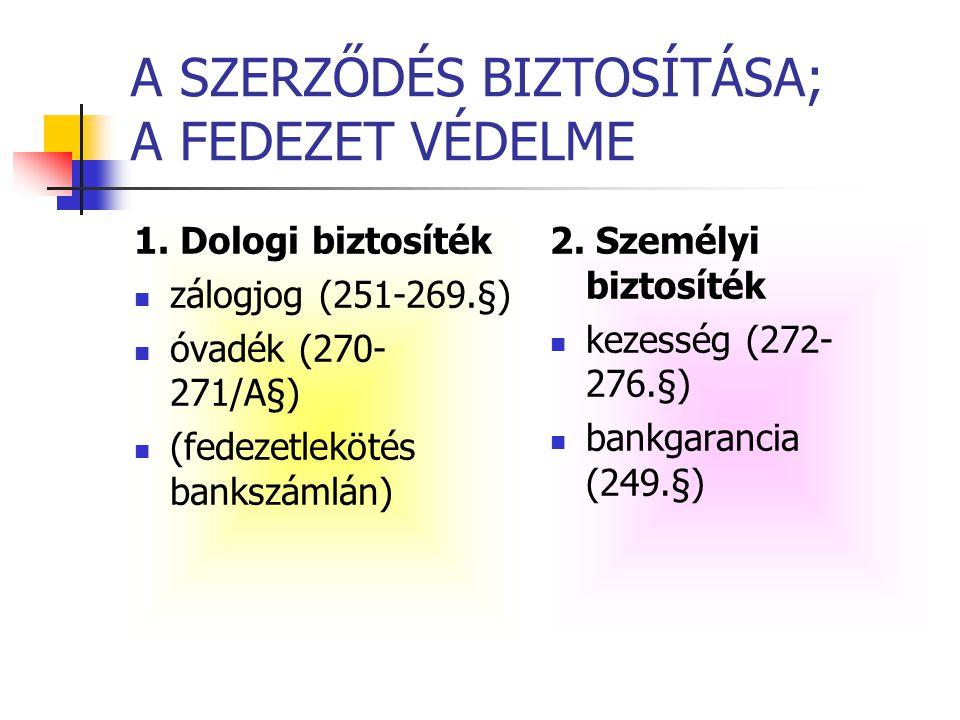 A SZERZŐDÉS BIZTOSÍTÁSA; A FEDEZET VÉDELME 1. Dologi biztosíték  zálogjog (251-269.§)  óvadék (270- 271/A§)  (fedezetlekötés bankszámlán) 2. Személ
