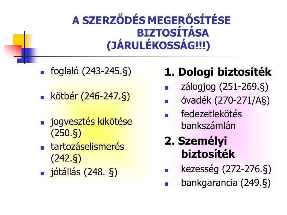 A SZERZŐDÉS MEGERŐSÍTÉSE BIZTOSÍTÁSA (JÁRULÉKOSSÁG!!!)  foglaló (243-245.§)  kötbér (246-247.§)  jogvesztés kikötése (250.§)  tartozáselismerés (2
