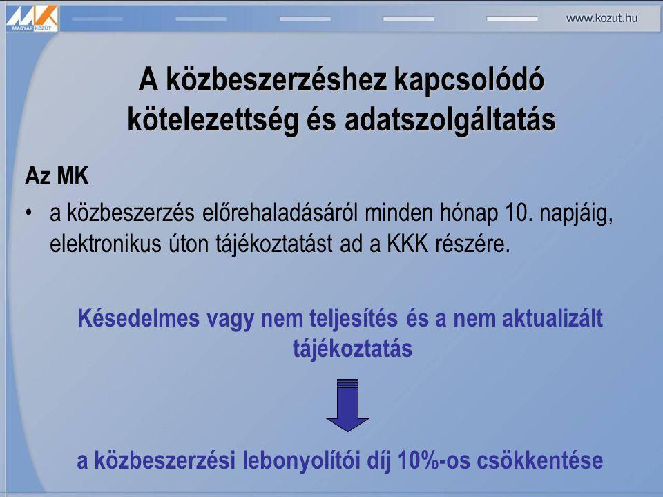 A közbeszerzéshez kapcsolódó kötelezettség és adatszolgáltatás Az MK •a közbeszerzés előrehaladásáról minden hónap 10.