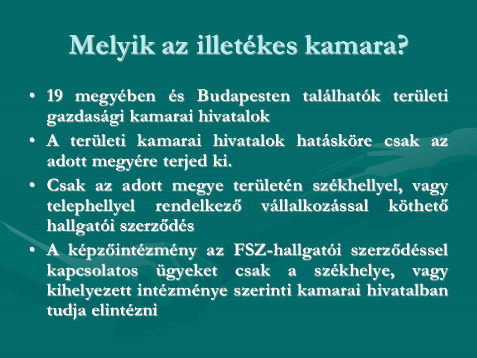 Melyik az illetékes kamara? •19 megyében és Budapesten találhatók területi gazdasági kamarai hivatalok •A területi kamarai hivatalok hatásköre csak az