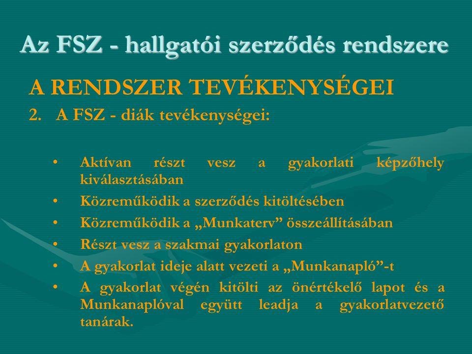 Az FSZ - hallgatói szerződés rendszere A RENDSZER TEVÉKENYSÉGEI 2. A FSZ - diák tevékenységei: • •Aktívan részt vesz a gyakorlati képzőhely kiválasztá