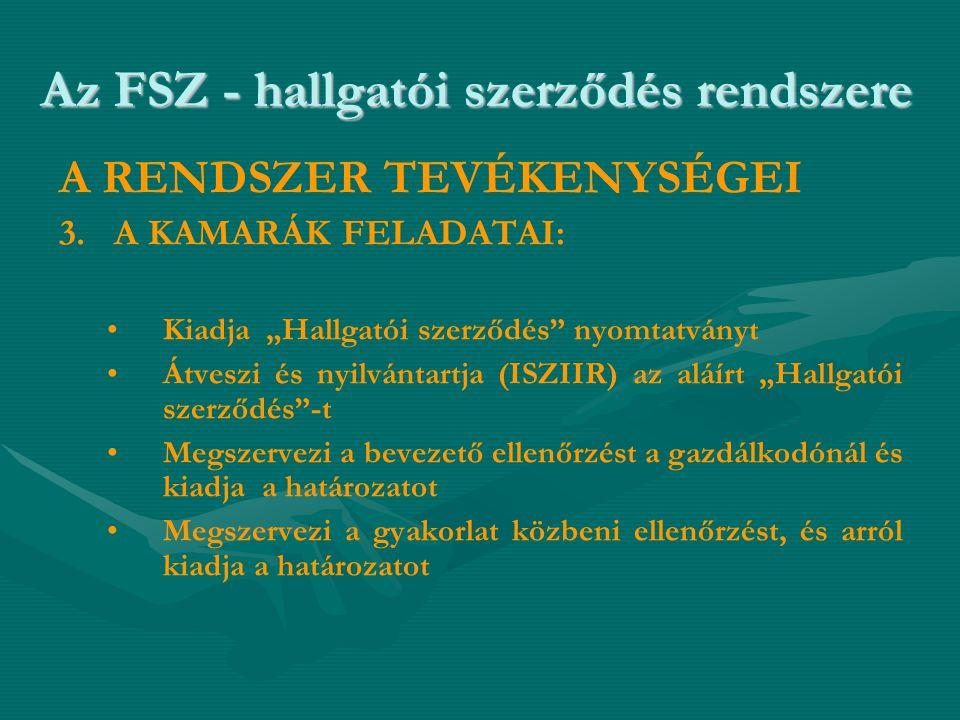 """Az FSZ - hallgatói szerződés rendszere A RENDSZER TEVÉKENYSÉGEI 3. A KAMARÁK FELADATAI: • •Kiadja """"Hallgatói szerződés"""" nyomtatványt • •Átveszi és nyi"""