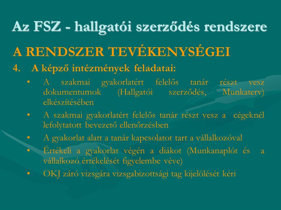 Az FSZ - hallgatói szerződés rendszere A RENDSZER TEVÉKENYSÉGEI 4. 4.A képző intézmények feladatai: • •A szakmai gyakorlatért felelős tanár részt vesz