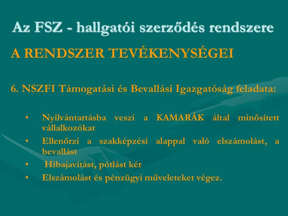 Az FSZ - hallgatói szerződés rendszere A RENDSZER TEVÉKENYSÉGEI 6. NSZFI Támogatási és Bevallási Igazgatóság feladata: • •Nyilvántartásba veszi a KAMA