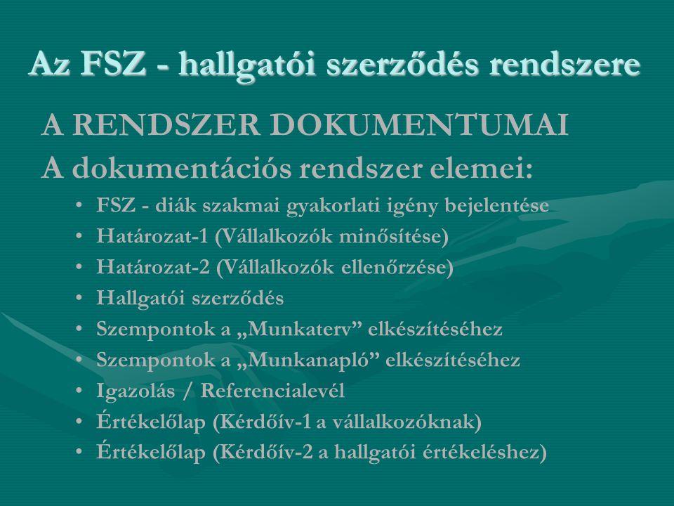 """Az FSZ - hallgatói szerződés rendszere A RENDSZER DOKUMENTUMAI A dokumentációs rendszer elemei: • •FSZ - diák szakmai gyakorlati igény bejelentése • •Határozat-1 (Vállalkozók minősítése) • •Határozat-2 (Vállalkozók ellenőrzése) • •Hallgatói szerződés • •Szempontok a """"Munkaterv elkészítéséhez • •Szempontok a """"Munkanapló elkészítéséhez • •Igazolás / Referencialevél • •Értékelőlap (Kérdőív-1 a vállalkozóknak) • •Értékelőlap (Kérdőív-2 a hallgatói értékeléshez)"""