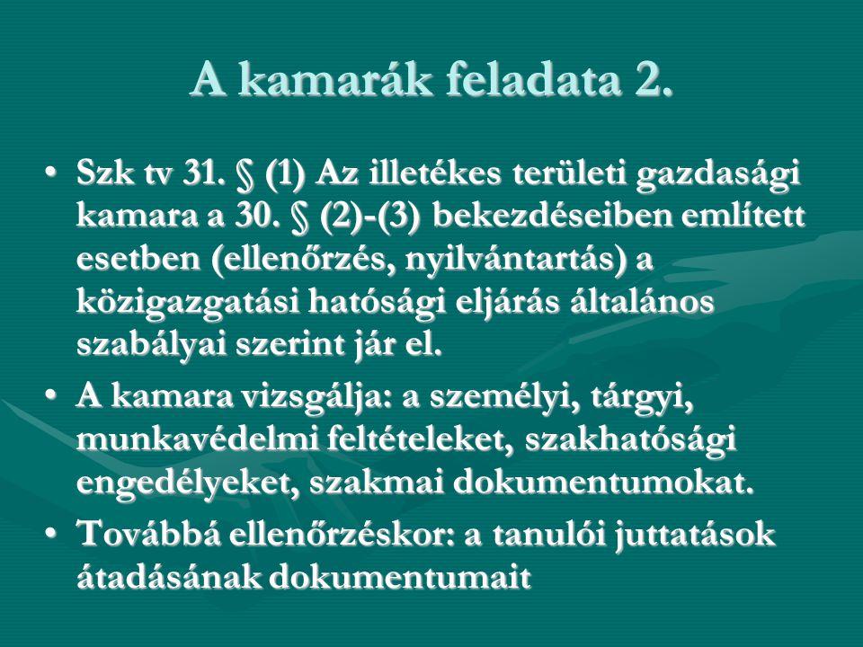 A kamarák feladata 2. •Szk tv 31. § (1) Az illetékes területi gazdasági kamara a 30. § (2)-(3) bekezdéseiben említett esetben (ellenőrzés, nyilvántart