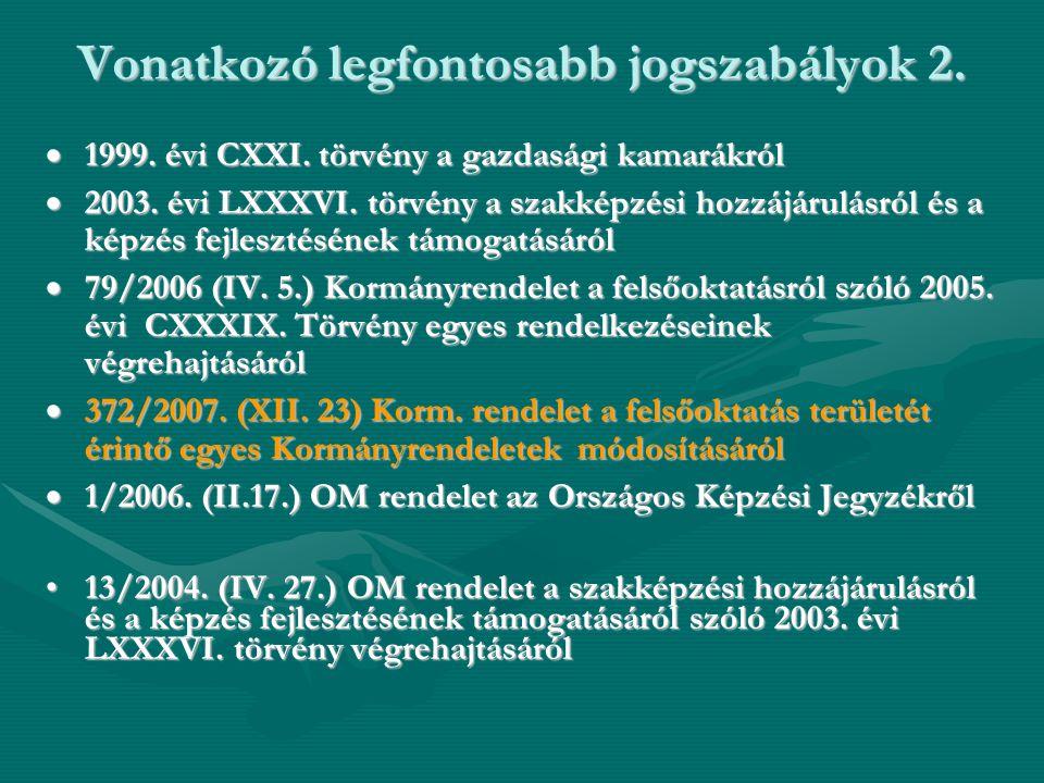 Vonatkozó legfontosabb jogszabályok 2.  1999. évi CXXI. törvény a gazdasági kamarákról  2003. évi LXXXVI. törvény a szakképzési hozzájárulásról és a