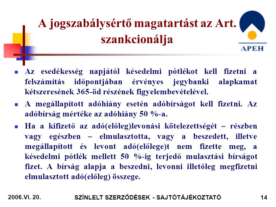 2006.VI. 20. SZÍNLELT SZERZŐDÉSEK - SAJTÓTÁJÉKOZTATÓ14 A jogszabálysértő magatartást az Art.