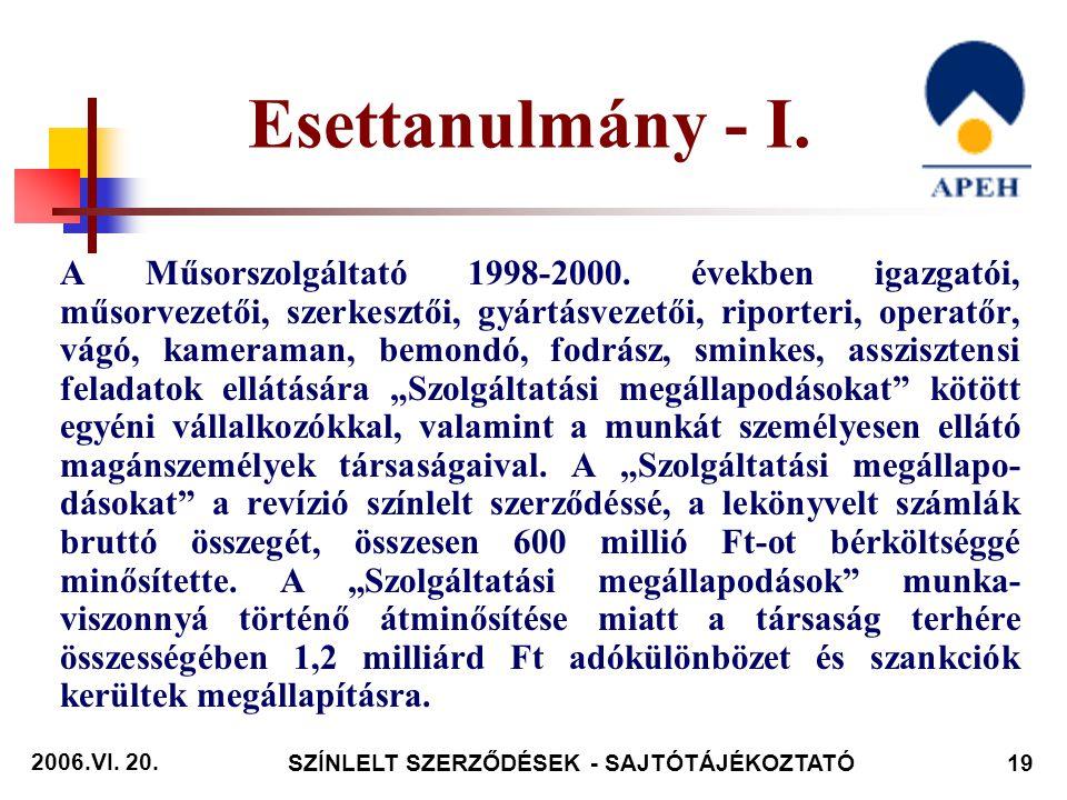 2006.VI. 20. SZÍNLELT SZERZŐDÉSEK - SAJTÓTÁJÉKOZTATÓ19 Esettanulmány - I.