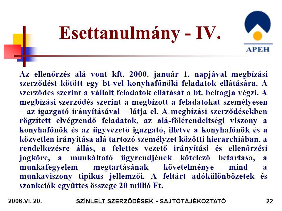 2006.VI. 20. SZÍNLELT SZERZŐDÉSEK - SAJTÓTÁJÉKOZTATÓ22 Az ellenőrzés alá vont kft.