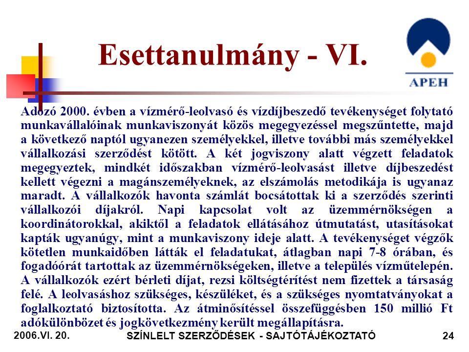 2006.VI. 20. SZÍNLELT SZERZŐDÉSEK - SAJTÓTÁJÉKOZTATÓ24 Adózó 2000.