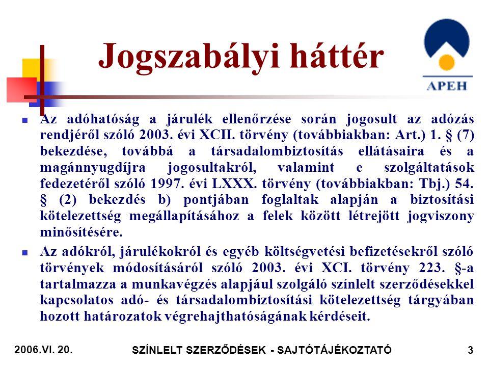 2006.VI.20. SZÍNLELT SZERZŐDÉSEK - SAJTÓTÁJÉKOZTATÓ14 A jogszabálysértő magatartást az Art.