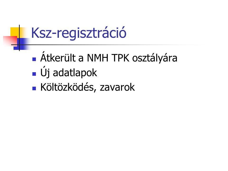 Ksz-regisztráció  Átkerült a NMH TPK osztályára  Új adatlapok  Költözködés, zavarok