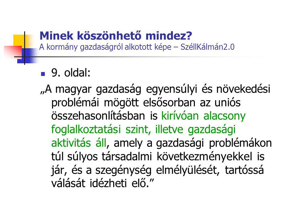 """Minek köszönhető mindez? A kormány gazdaságról alkotott képe – SzéllKálmán2.0  9. oldal: """"A magyar gazdaság egyensúlyi és növekedési problémái mögött"""