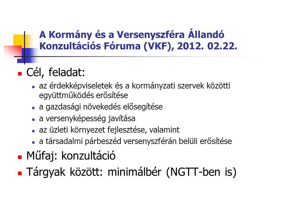 A Kormány és a Versenyszféra Állandó Konzultációs Fóruma (VKF), 2012. 02.22.  Cél, feladat:  az érdekképviseletek és a kormányzati szervek közötti e