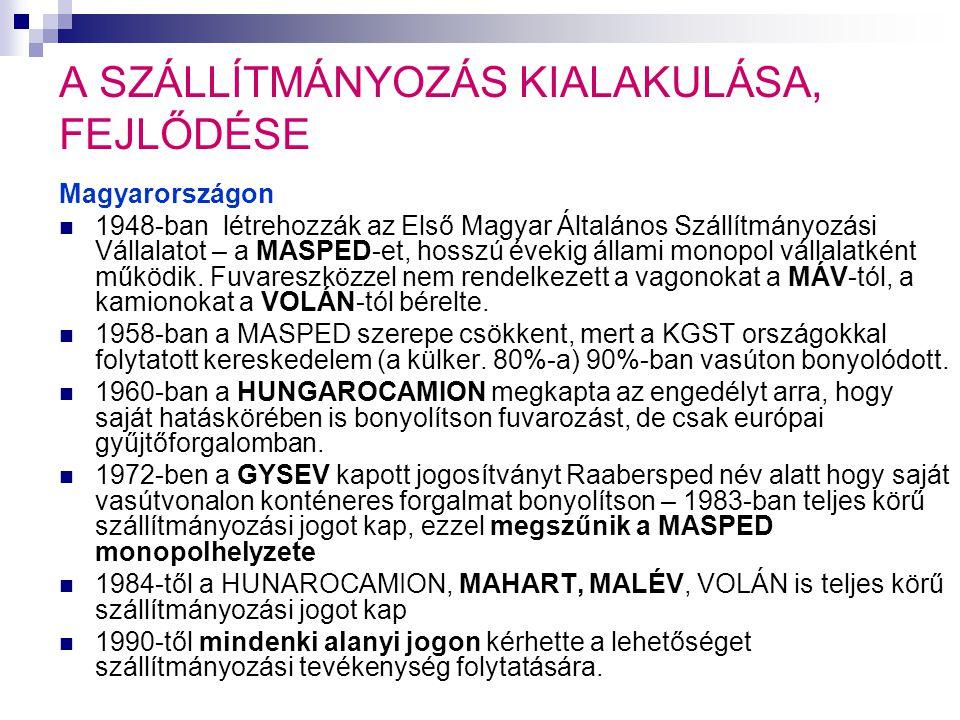 A SZÁLLÍTMÁNYOZÁS KIALAKULÁSA, FEJLŐDÉSE Magyarországon  1948-ban létrehozzák az Első Magyar Általános Szállítmányozási Vállalatot – a MASPED-et, hosszú évekig állami monopol vállalatként működik.