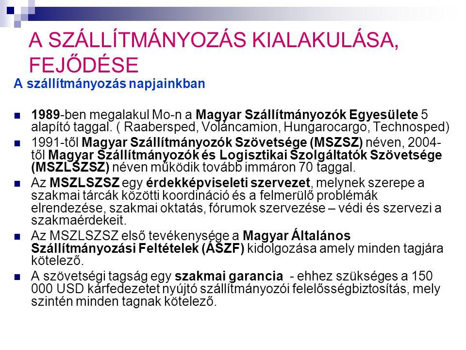 A SZÁLLÍTMÁNYOZÁS KIALAKULÁSA, FEJŐDÉSE A szállítmányozás napjainkban  1989-ben megalakul Mo-n a Magyar Szállítmányozók Egyesülete 5 alapító taggal.