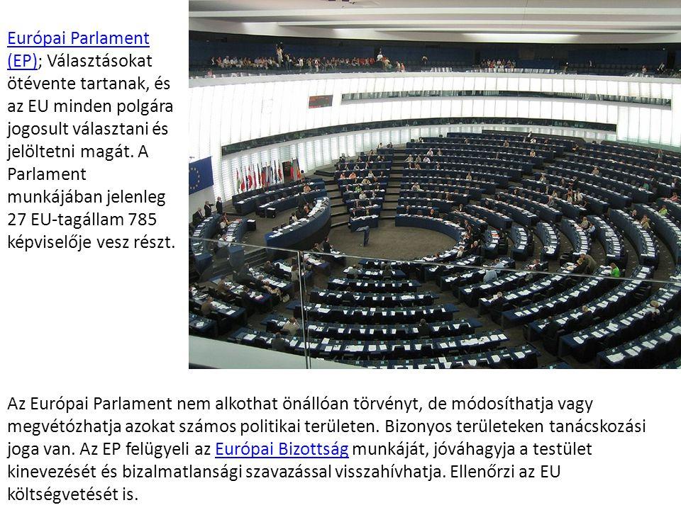 Az EU intézményei és egyéb szervei Európai Parlament (EP)Európai Parlament (EP); Választásokat ötévente tartanak, és az EU minden polgára jogosult vál