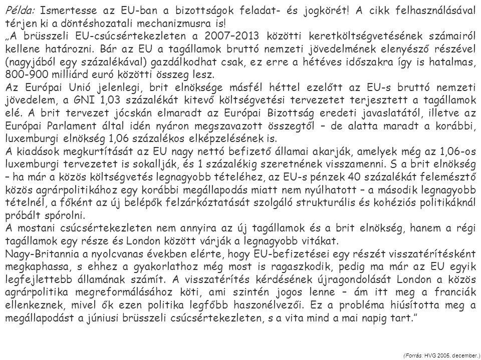(Forrás: HVG 2005. december.) Példa: Ismertesse az EU-ban a bizottságok feladat- és jogkörét! A cikk felhasználásával térjen ki a döntéshozatali mecha