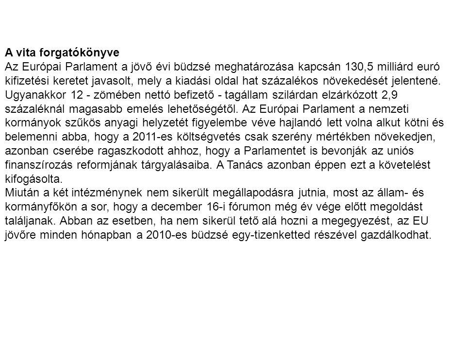 A vita forgatókönyve Az Európai Parlament a jövő évi büdzsé meghatározása kapcsán 130,5 milliárd euró kifizetési keretet javasolt, mely a kiadási olda