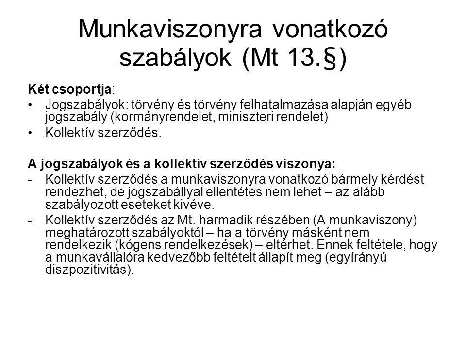 Munkaviszonyra vonatkozó szabályok (Mt 13.§) Két csoportja: •Jogszabályok: törvény és törvény felhatalmazása alapján egyéb jogszabály (kormányrendelet