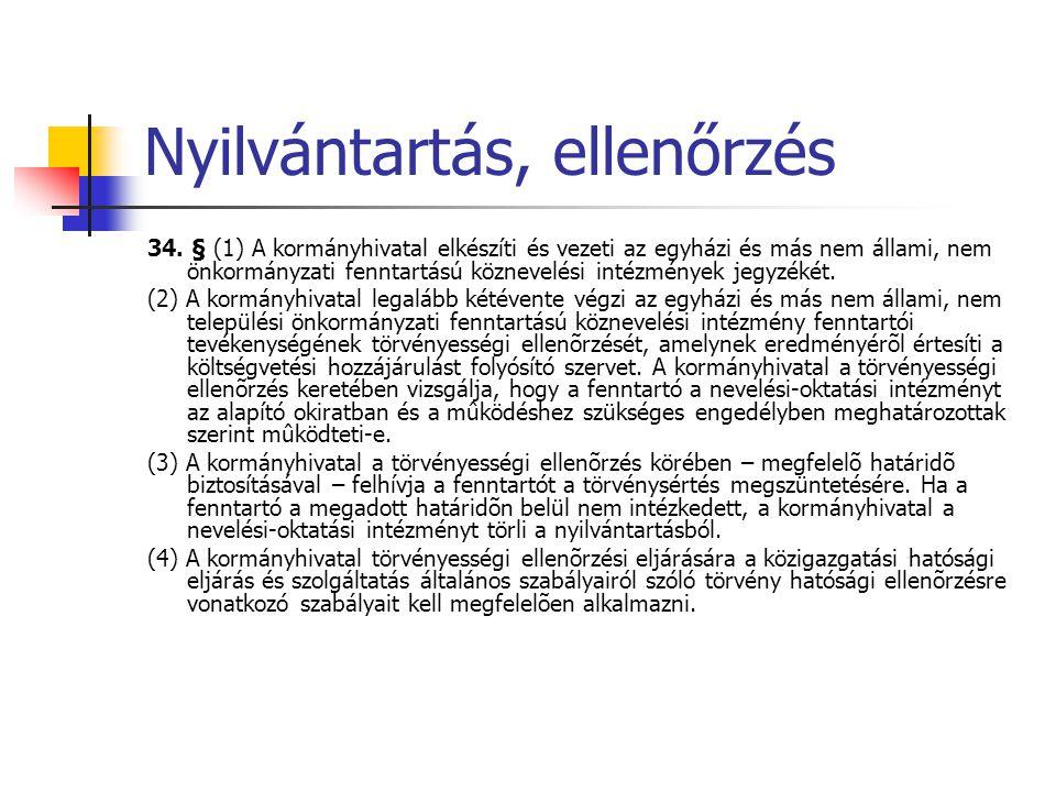 Nyilvántartás, ellenőrzés 34. § (1) A kormányhivatal elkészíti és vezeti az egyházi és más nem állami, nem önkormányzati fenntartású köznevelési intéz