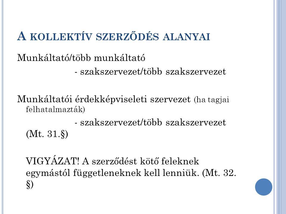 A KOLLEKTÍV SZERZŐDÉSKÖTÉSRE JOGOSULT SZAKSZERVEZETEK 3.