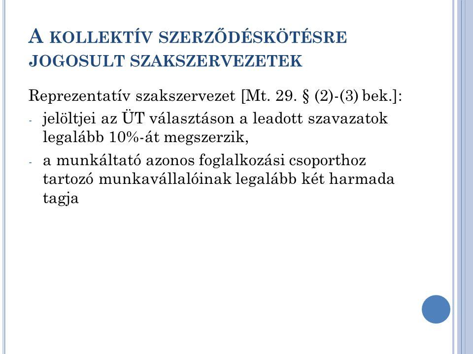 A KOLLEKTÍV SZERZŐDÉSKÖTÉSRE JOGOSULT SZAKSZERVEZETEK Reprezentatív szakszervezet [Mt. 29. § (2)-(3) bek.]: - jelöltjei az ÜT választáson a leadott sz
