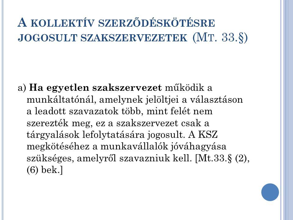 A KOLLEKTÍV SZERZŐDÉSKÖTÉSRE JOGOSULT SZAKSZERVEZETEK (M T. 33.§) a) Ha egyetlen szakszervezet működik a munkáltatónál, amelynek jelöltjei a választás