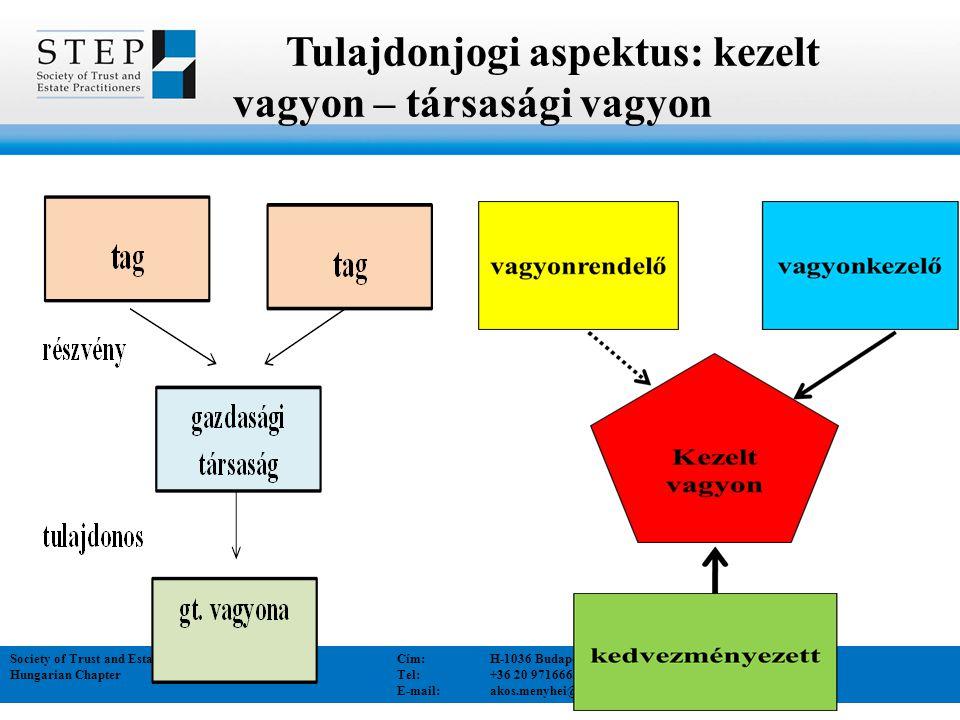Tulajdonjogi aspektus: kezelt vagyon – társasági vagyon Society of Trust and Estate Practitioners Cím:H-1036 Budapest Bécsi út 52. I/1. Hungarian Chap