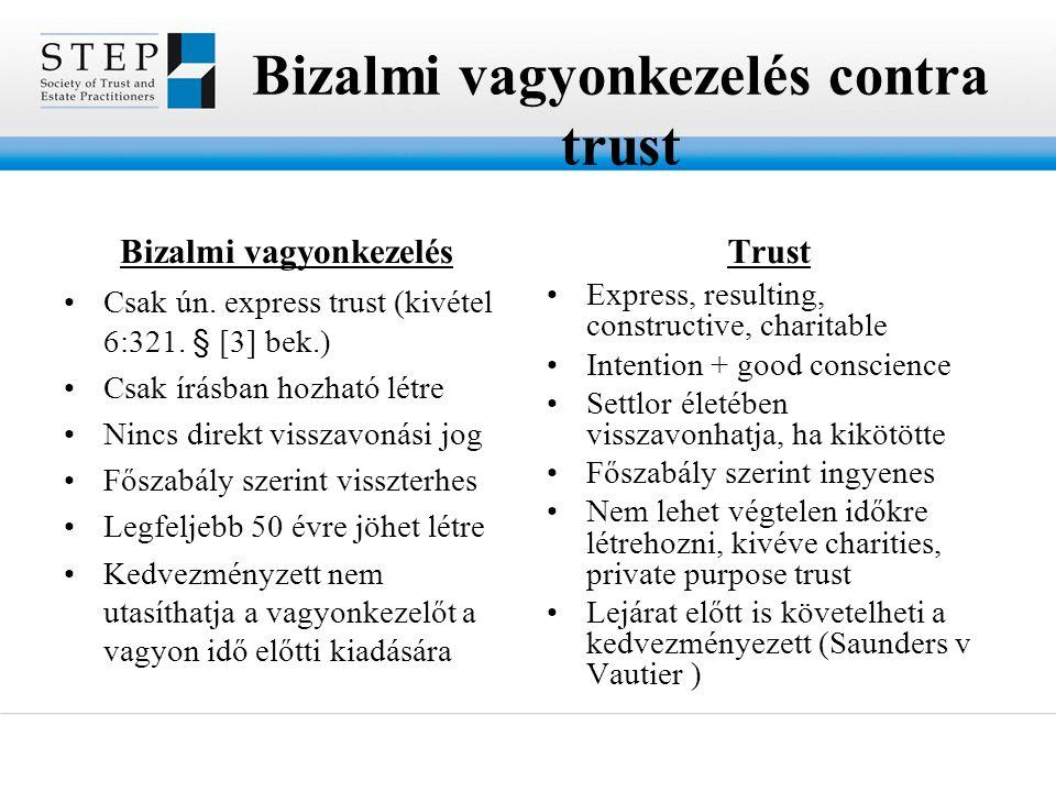 Bizalmi vagyonkezelés contra trust Bizalmi vagyonkezelés •Csak ún. express trust (kivétel 6:321. § [3] bek.) •Csak írásban hozható létre •Nincs direkt