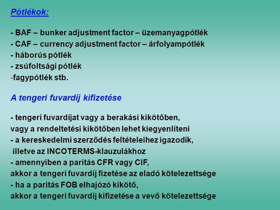 Pótlékok: - BAF – bunker adjustment factor – üzemanyagpótlék - CAF – currency adjustment factor – árfolyampótlék - háborús pótlék - zsúfoltsági pótlék