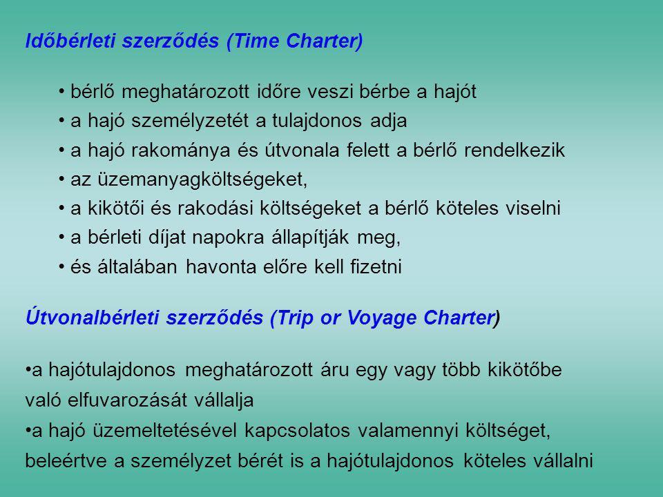 Időbérleti szerződés (Time Charter) • bérlő meghatározott időre veszi bérbe a hajót • a hajó személyzetét a tulajdonos adja • a hajó rakománya és útvo