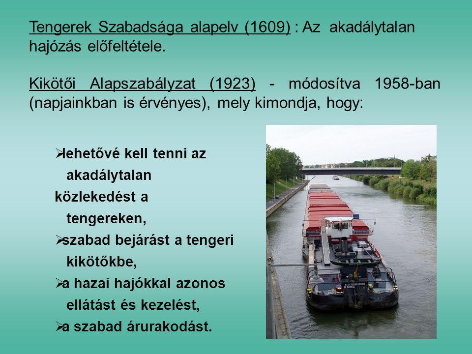 Tengerek Szabadsága alapelv (1609) : Az akadálytalan hajózás előfeltétele. Kikötői Alapszabályzat (1923) - módosítva 1958-ban (napjainkban is érvényes