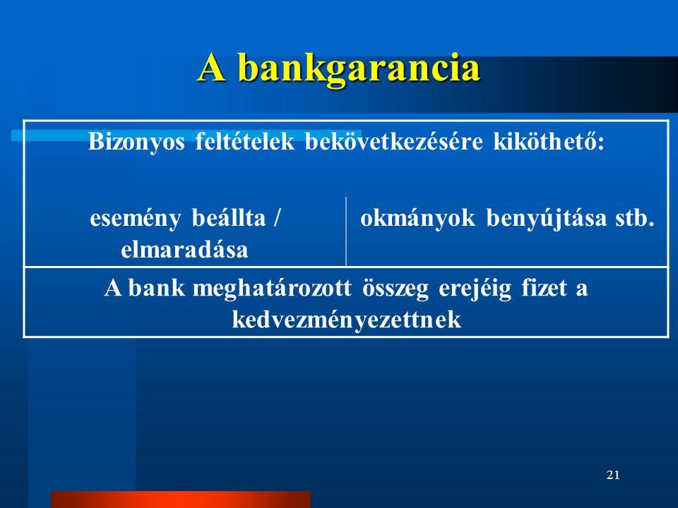 21 A bankgarancia Bizonyos feltételek bekövetkezésére kiköthető: esemény beállta / elmaradása okmányok benyújtása stb. A bank meghatározott összeg ere