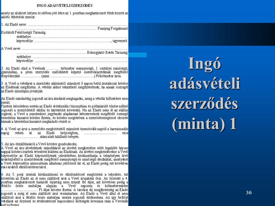 36 Ingó adásvételi szerződés (minta) 1