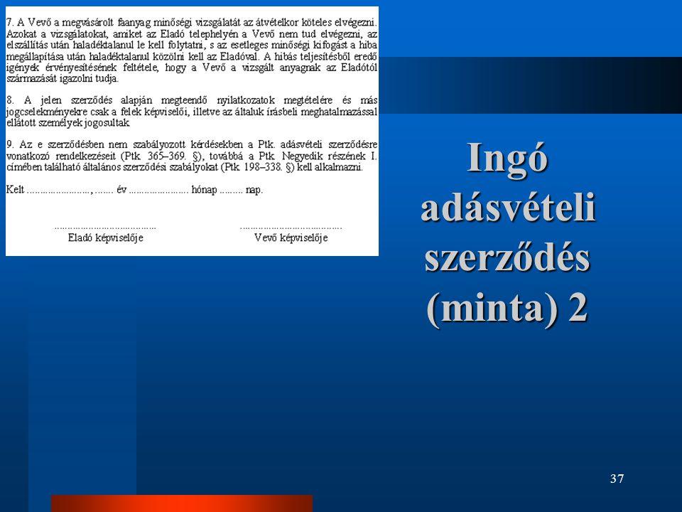 37 Ingó adásvételi szerződés (minta) 2