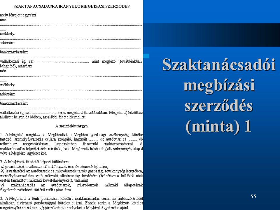 55 Szaktanácsadói megbízási szerződés (minta) 1