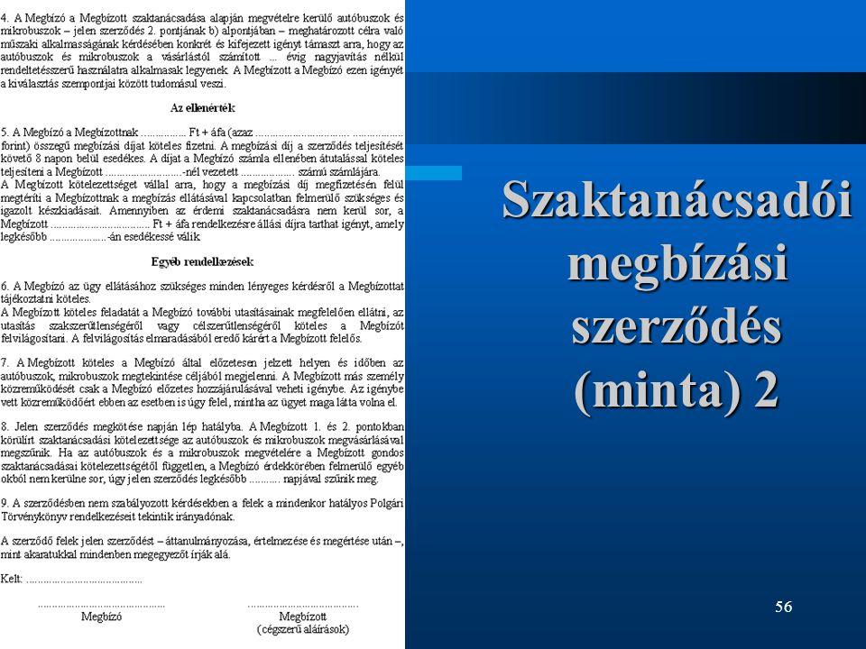 56 Szaktanácsadói megbízási szerződés (minta) 2