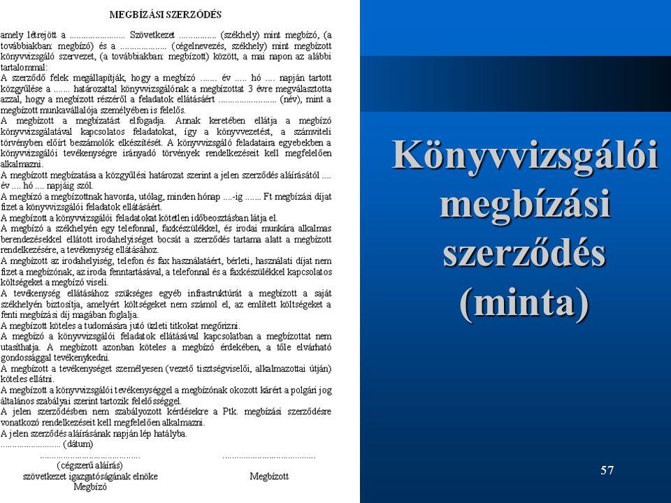 57 Könyvvizsgálói megbízási szerződés (minta)