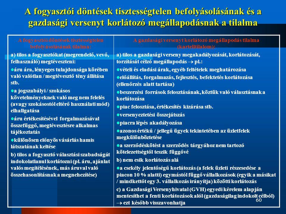 60 A fogyasztói döntések tisztességtelen befolyásolásának és a gazdasági versenyt korlátozó megállapodásnak a tilalma A fogyasztói döntések tisztesség