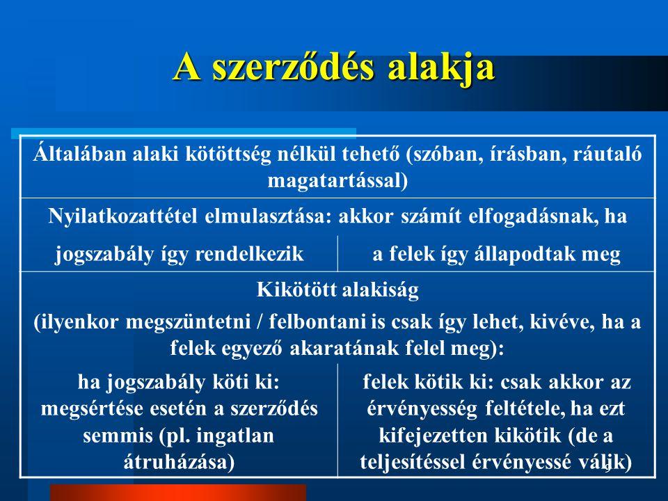 9 A szerződés alakja Általában alaki kötöttség nélkül tehető (szóban, írásban, ráutaló magatartással) Nyilatkozattétel elmulasztása: akkor számít elfogadásnak, ha jogszabály így rendelkezika felek így állapodtak meg Kikötött alakiság (ilyenkor megszüntetni / felbontani is csak így lehet, kivéve, ha a felek egyező akaratának felel meg): ha jogszabály köti ki: megsértése esetén a szerződés semmis (pl.