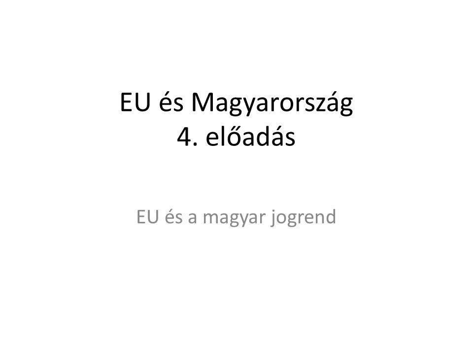 EU és Magyarország 4. előadás EU és a magyar jogrend