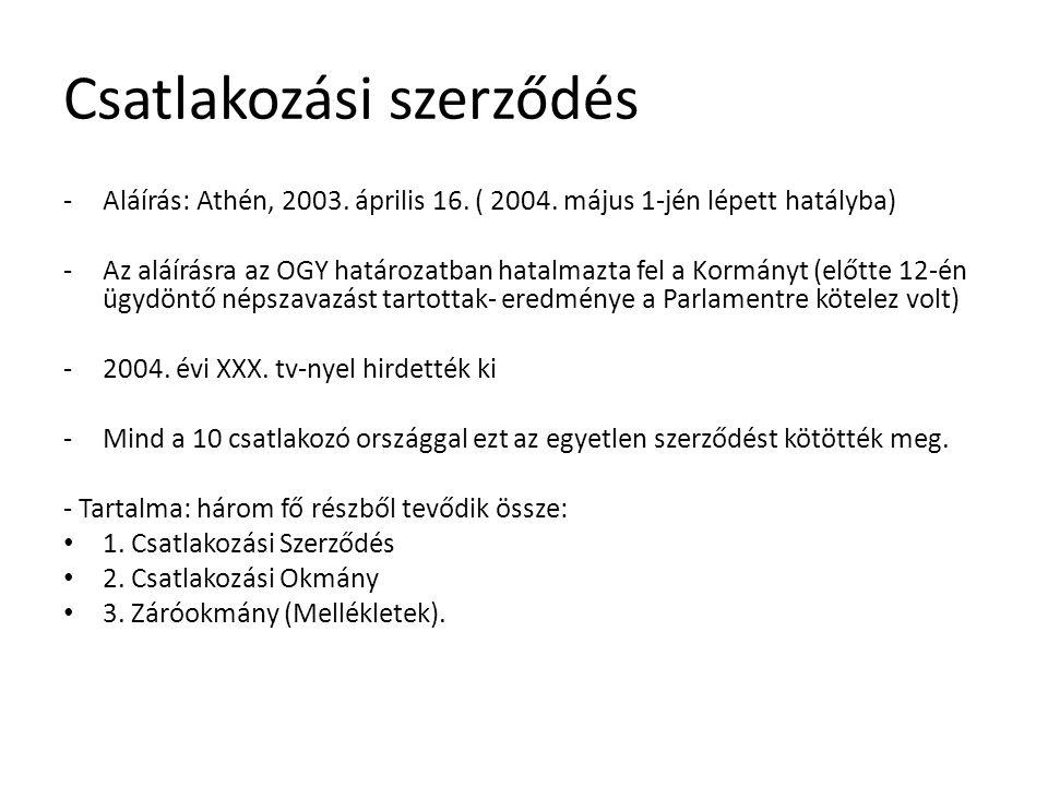 Csatlakozási szerződés -Aláírás: Athén, 2003. április 16.