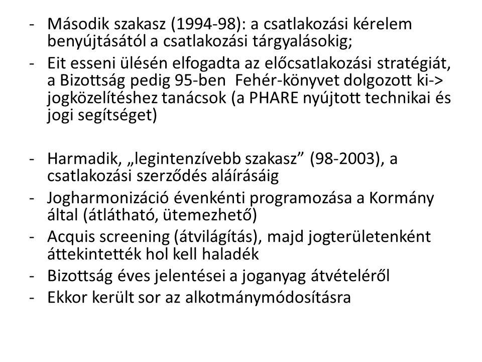 """-Második szakasz (1994-98): a csatlakozási kérelem benyújtásától a csatlakozási tárgyalásokig; -Eit esseni ülésén elfogadta az előcsatlakozási stratégiát, a Bizottság pedig 95-ben Fehér-könyvet dolgozott ki-> jogközelítéshez tanácsok (a PHARE nyújtott technikai és jogi segítséget) -Harmadik, """"legintenzívebb szakasz (98-2003), a csatlakozási szerződés aláírásáig -Jogharmonizáció évenkénti programozása a Kormány által (átlátható, ütemezhető) -Acquis screening (átvilágítás), majd jogterületenként áttekintették hol kell haladék -Bizottság éves jelentései a joganyag átvételéről -Ekkor került sor az alkotmánymódosításra"""