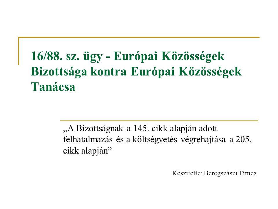 """16/88. sz. ügy - Európai Közösségek Bizottsága kontra Európai Közösségek Tanácsa """"A Bizottságnak a 145. cikk alapján adott felhatalmazás és a költségv"""