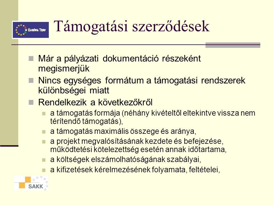 A projektek megvalósítása I. A támogatási szerződés megkötése, tartalma A támogatási szerződés módosításának feltételei 7. modul Ponácz György Márk SA