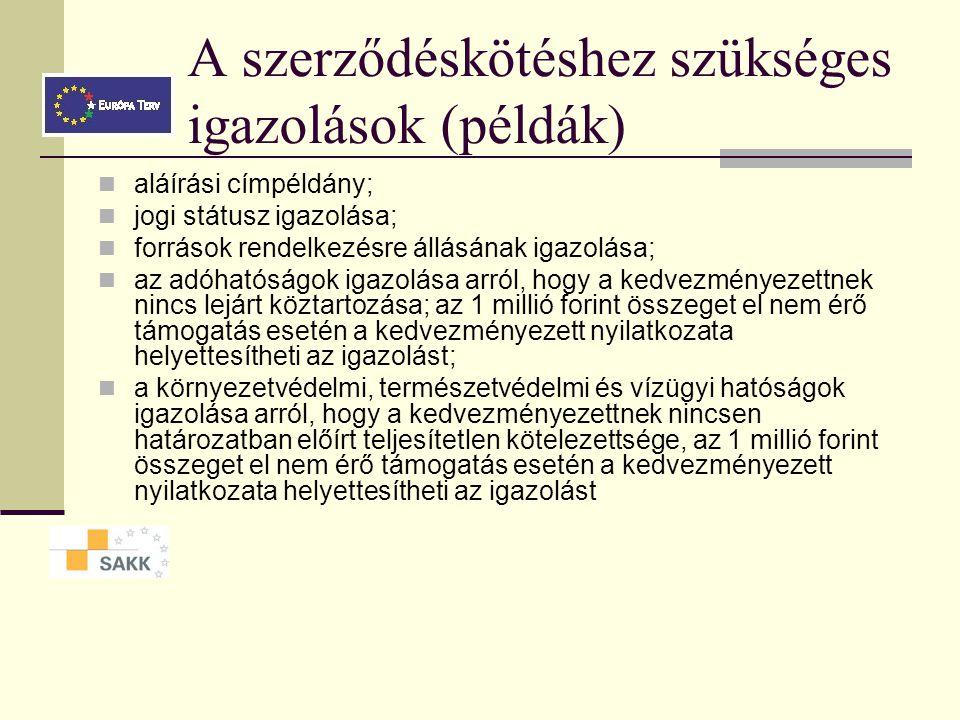Támogatási szerződés fő pontjai  GVOP-2005-2.2.2.